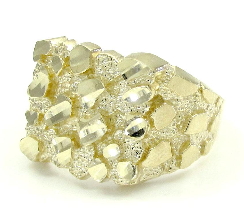 Mens 10k Yellow Gold Medium Square Nugget Ring