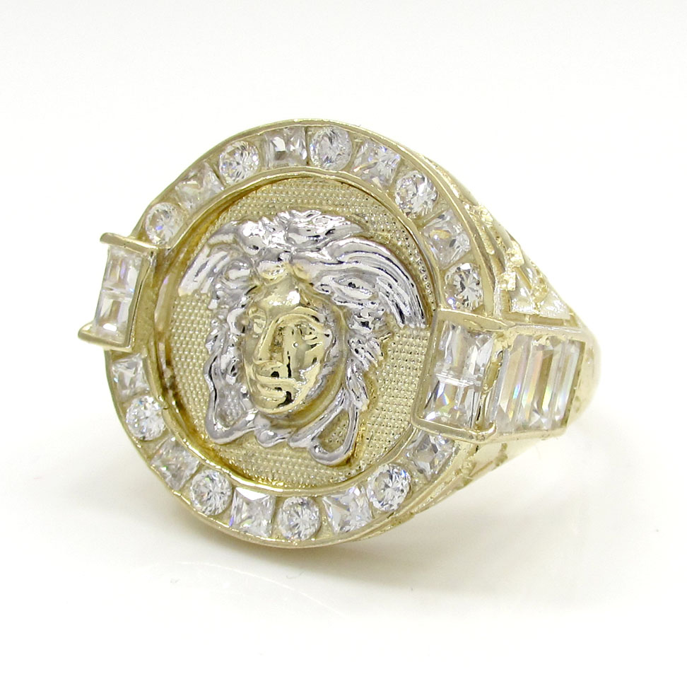 10k yellow gold nugget cz medusa head ring 1.40ct