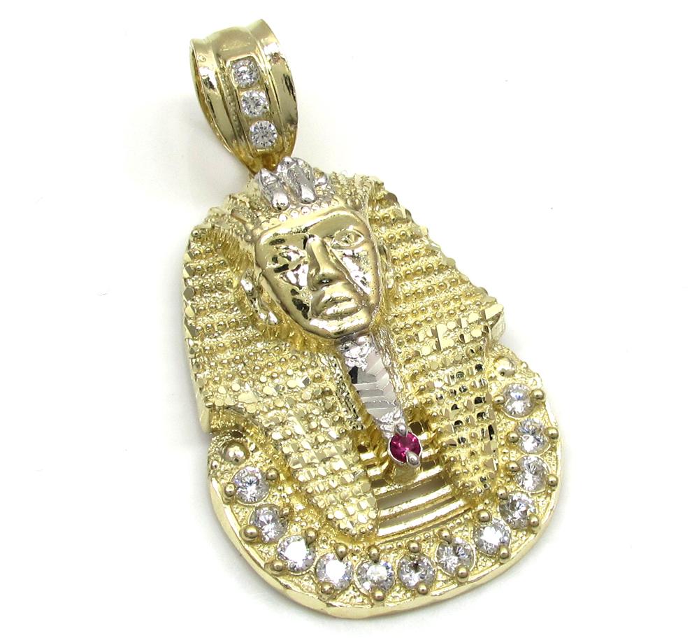 10k yellow gold cz king tut pharaoh head pendant 030ct aloadofball Gallery