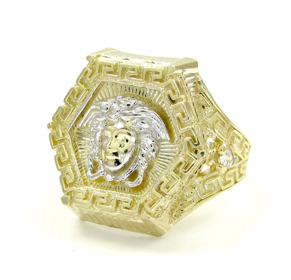 Mens 10k yellow gold cz hexagon medusa ring .10ct