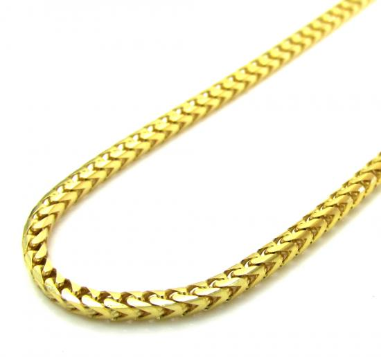 14k yellow gold solid skinny franco link chain 18-26 inch 1.7mm