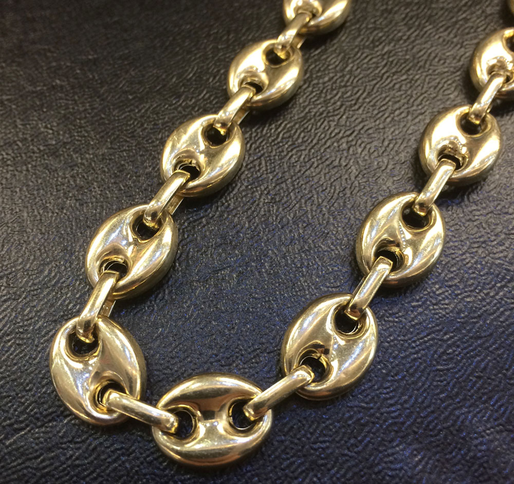 9b3d7e66932 14K Yellow Gold Gucci Puff Link Chain 26 INCHES 13MM