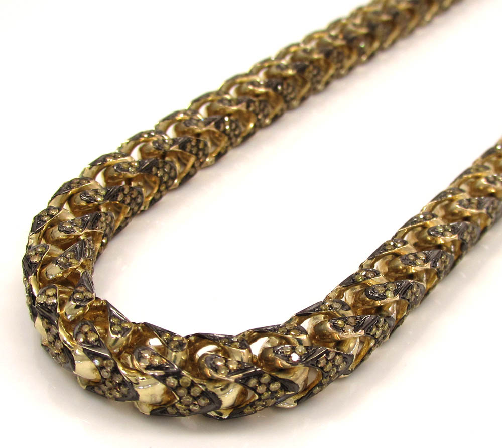 10K Solid Yellow Gold Fully Iced Canary Diamond Franco Chain 26 Inch 6mm 11.15CT