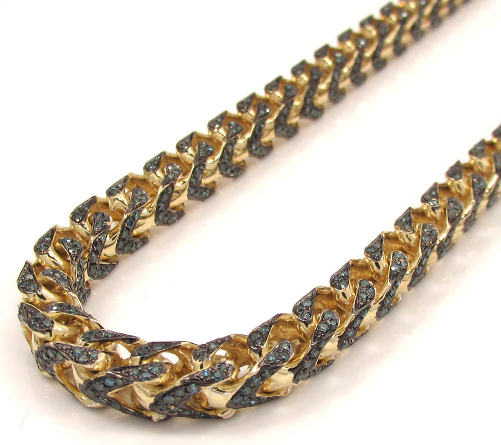 10k solid yellow gold fully iced blue diamond franco chain 26 inch 6mm 11.96ct