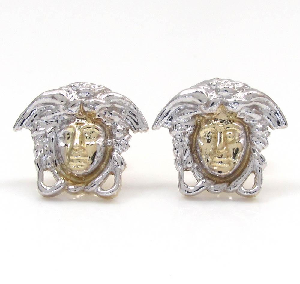 10k yellow gold mini medusa head earrings