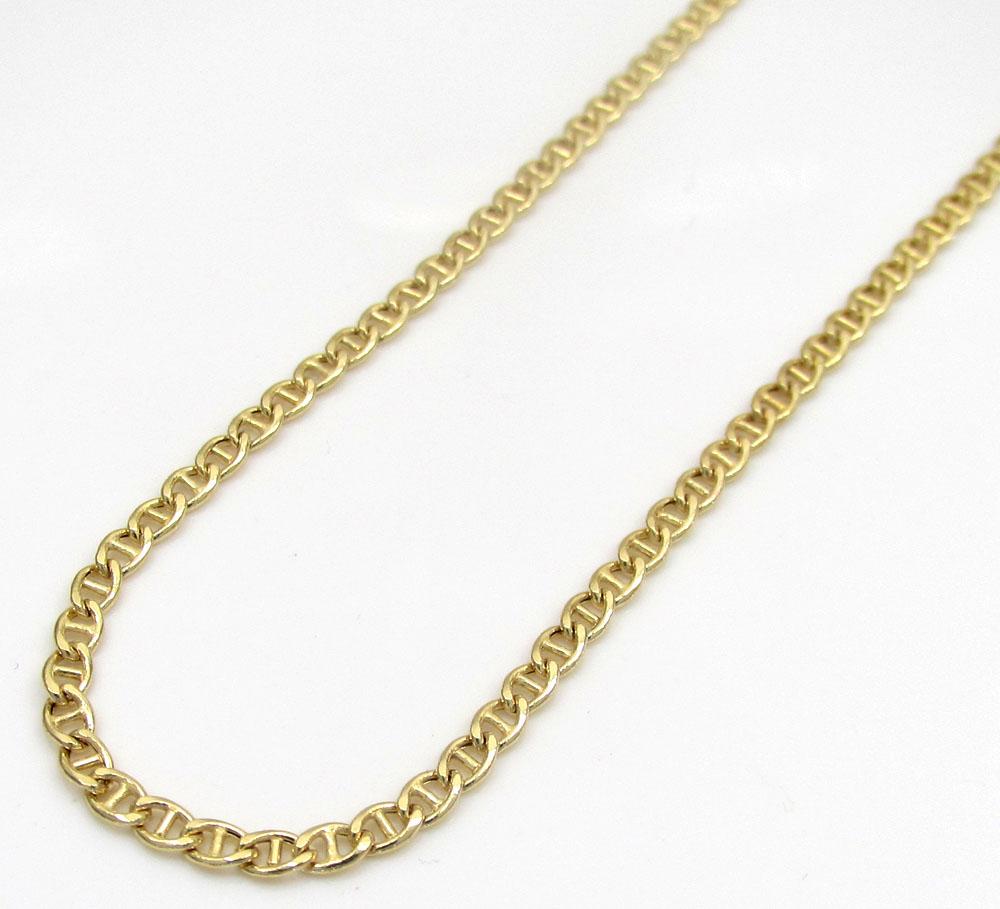10k Yellow Gold Skinny Puffed Mariner Chain 16-18 Inch 2mm