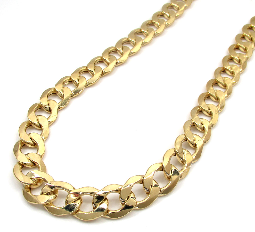 10k yellow gold thick hollow cuban chain 22-30 inch 11mm