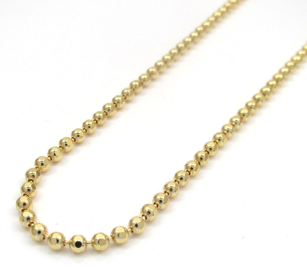 10k yellow gold hexagon cut ball chain 22-26 inch 2mm