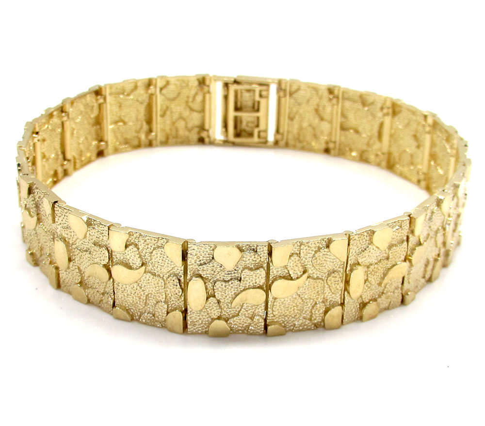 10k yellow gold solid large nugget bracelet 8.50 inch