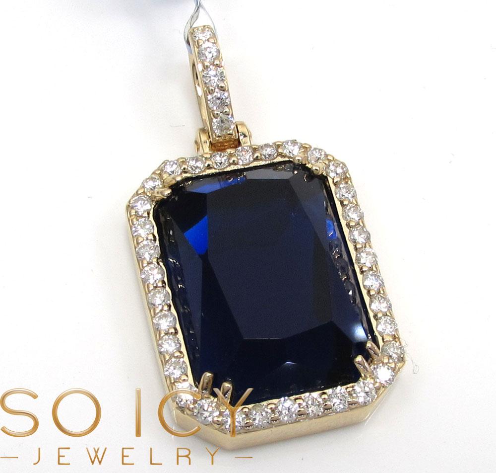 14k yellow gold blue sapphire diamond octagon pendant 076ct aloadofball Image collections