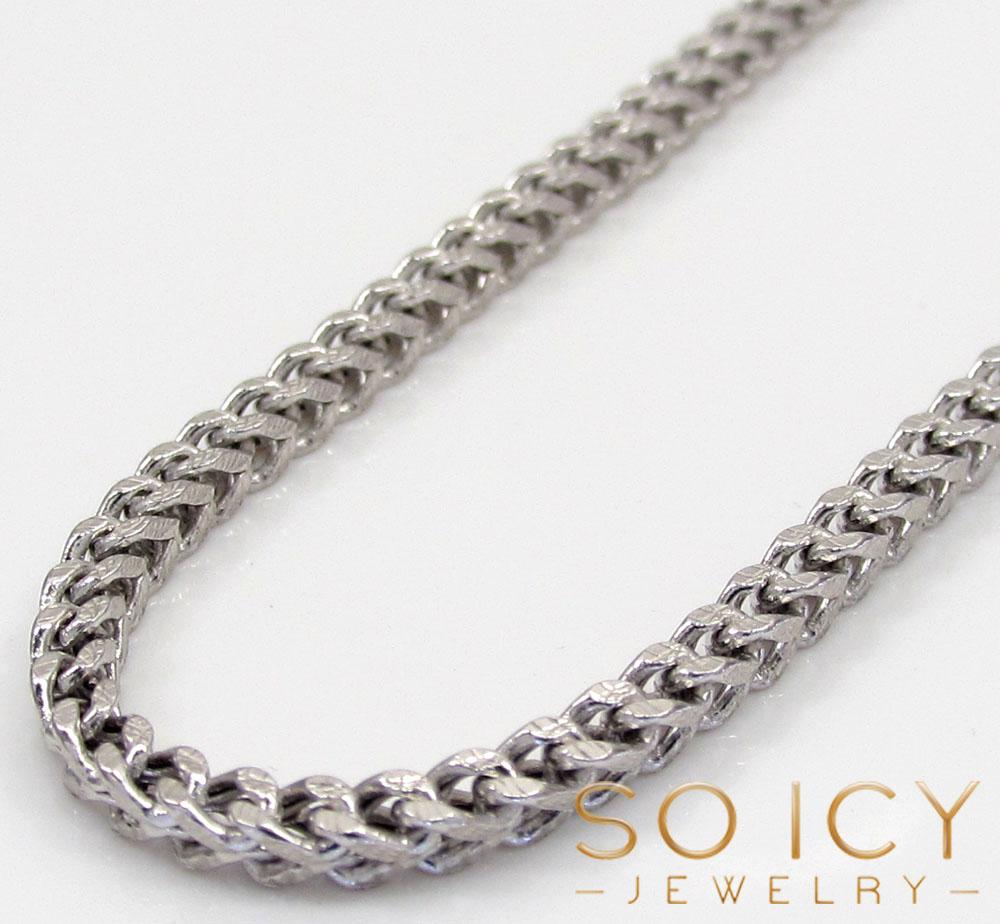 d3c338489c1f4 10k White Gold Skinny Hollow Diamond Cut Franco Chain 20-40 Inch ...