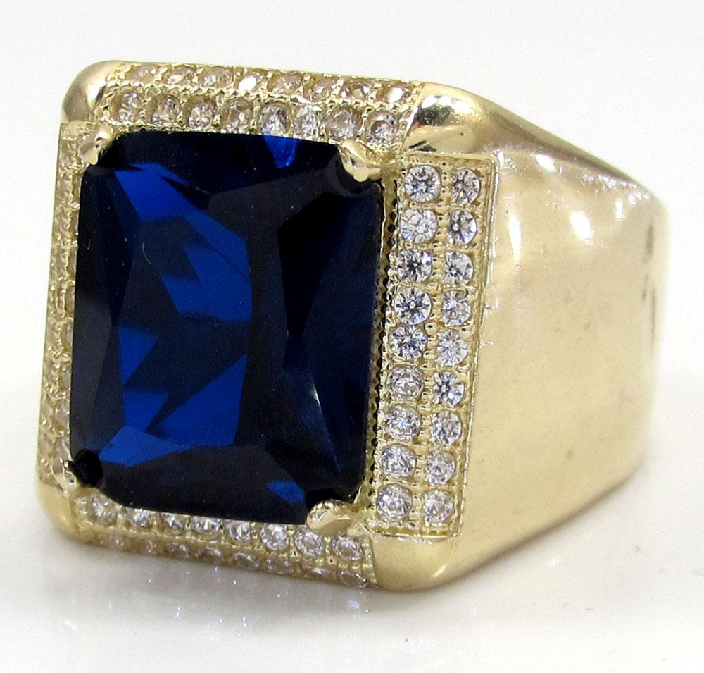 10k Yellow Gold Blue Sapphire Gemstone Ring 5.00CT
