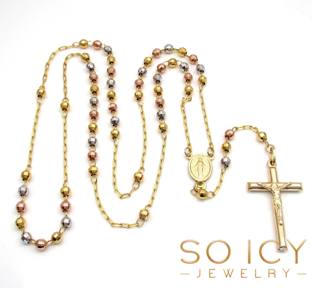 10k yellow gold tri tone disco ball skinny bead rosary chain 26 inch 3.8mm