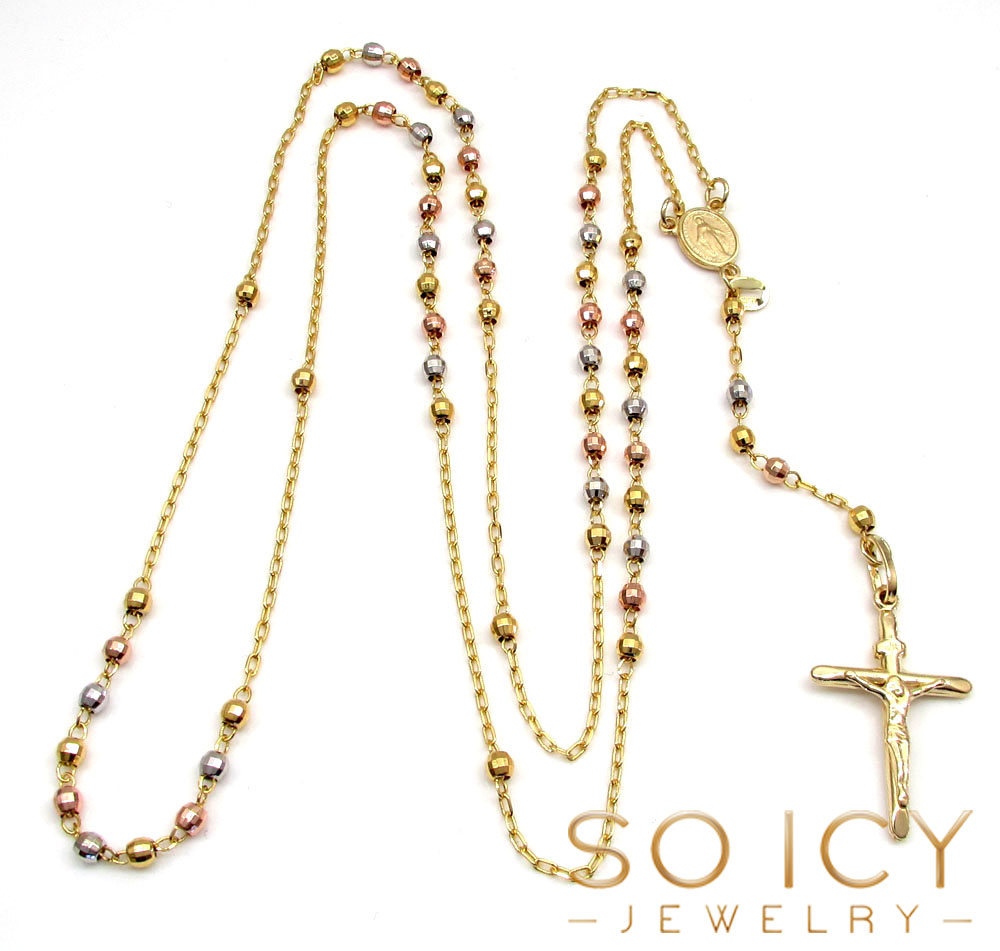 10k yellow gold tri tone disco ball skinny bead rosary chain 26 inch 2.8mm