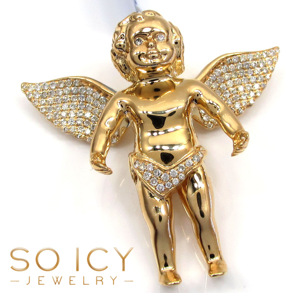 14k yellow gold vs diamond baby cherub angel pendant 0.81ct