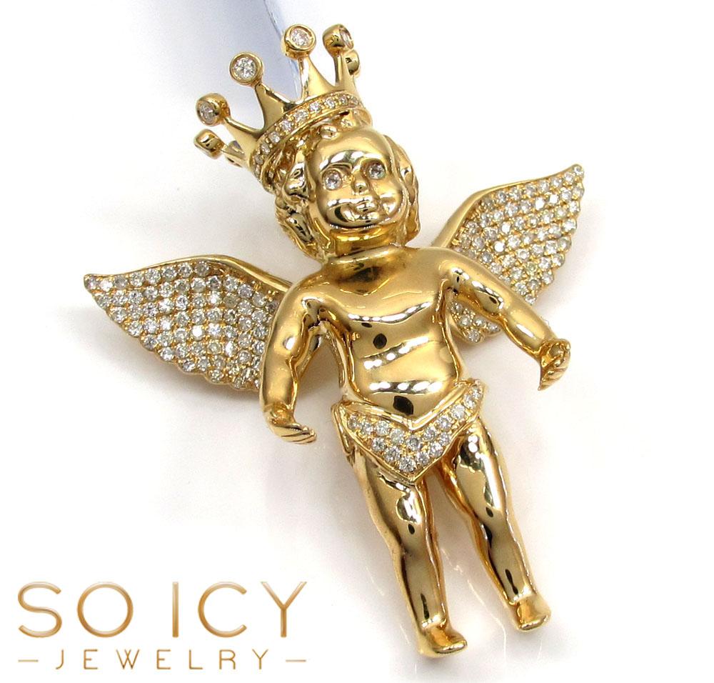 14k yellow gold vs diamond baby cherub crown angel pendant 105ct aloadofball Gallery