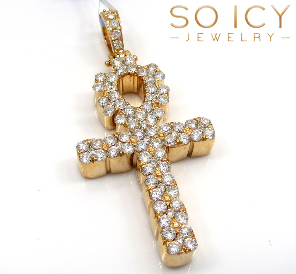 14k yellow gold vs diamond ankh cross 2.15ct