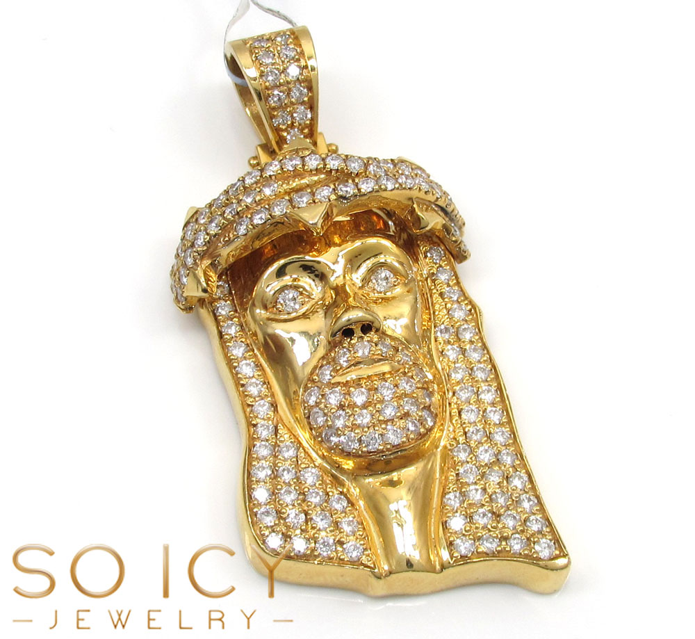 14k yellow gold vs diamond thorn crown jesus piece pendant 3.31ct