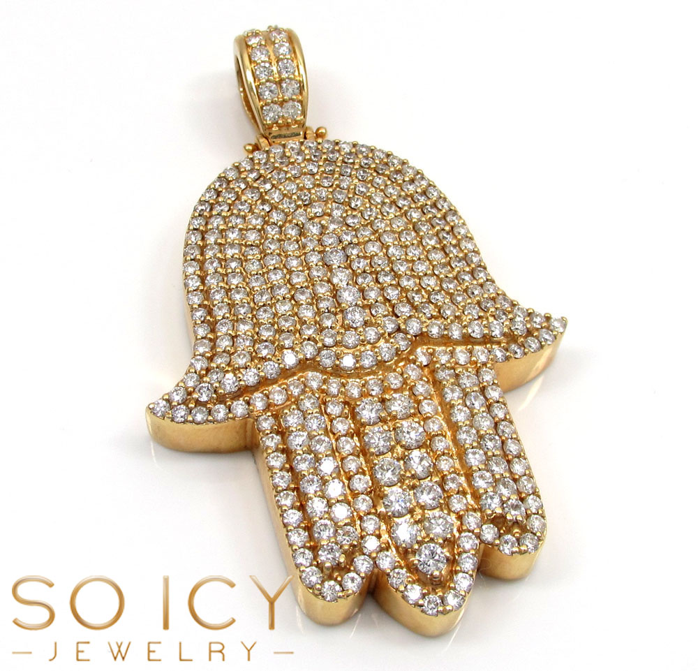 14k Yellow Gold VS Diamond XL Fancy Hamsa Pendant 5.80CT