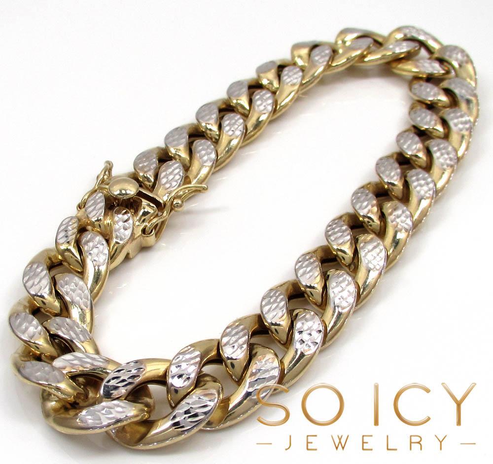 10k yellow gold one sided diamond cut cuban bracelet 8.75 inch 12.50mm