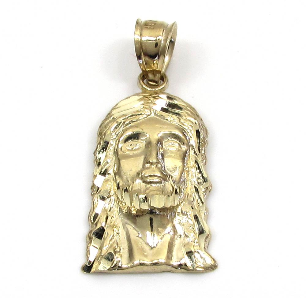 10K Yellow Gold Diamond Cut mini Jesus Face Pendant