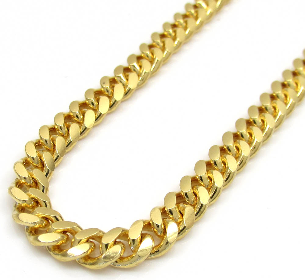 7bc74a3590412 925 Yellow Sterling Silver Miami Link Chain 30 Inches 4.50mm