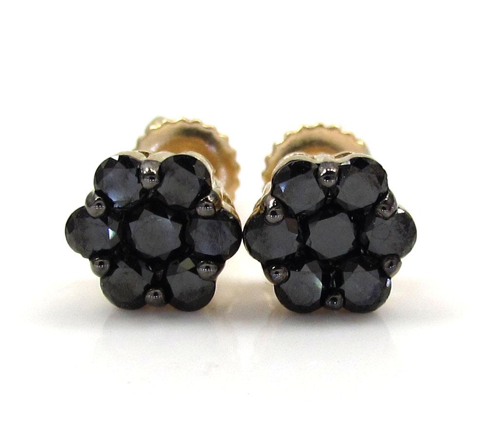10K Yellow Gold Black Diamond Cluster Medium Earrings 1.00CT