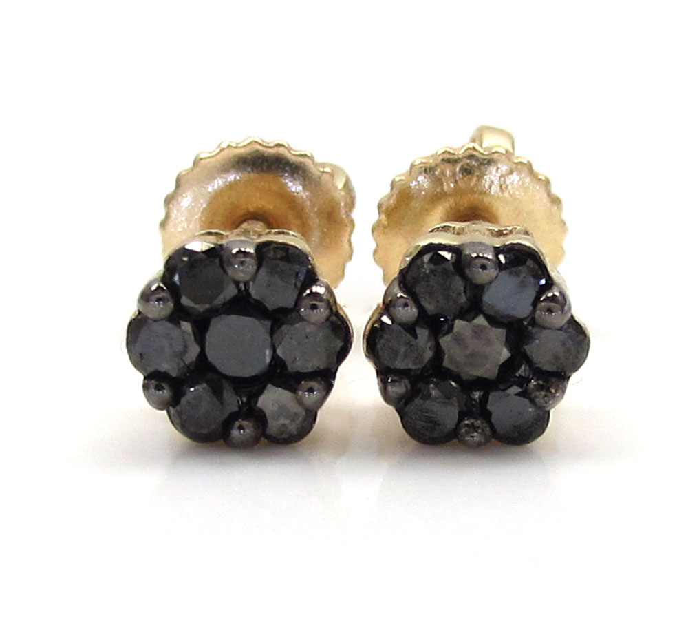 14k yellow gold black diamond cluster small earrings 4.8mm 0.50ct
