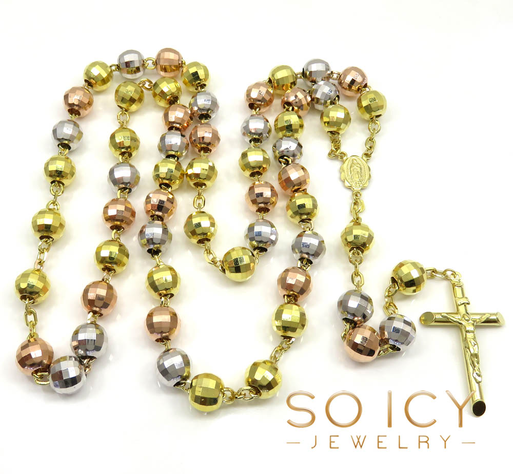 10k yellow gold tri tone large disco ball bead rosary chain 30 inch 9.8mm