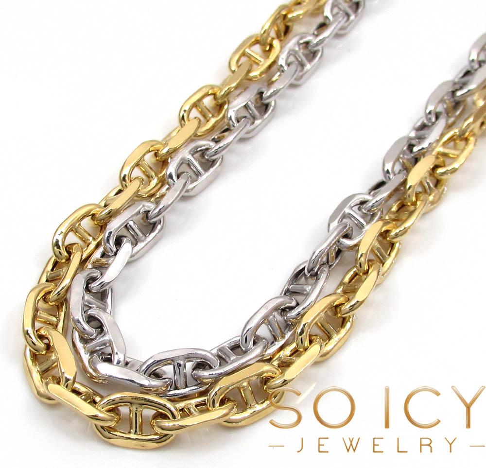 14k gold puffed mariner chain 24-36 inch 5mm