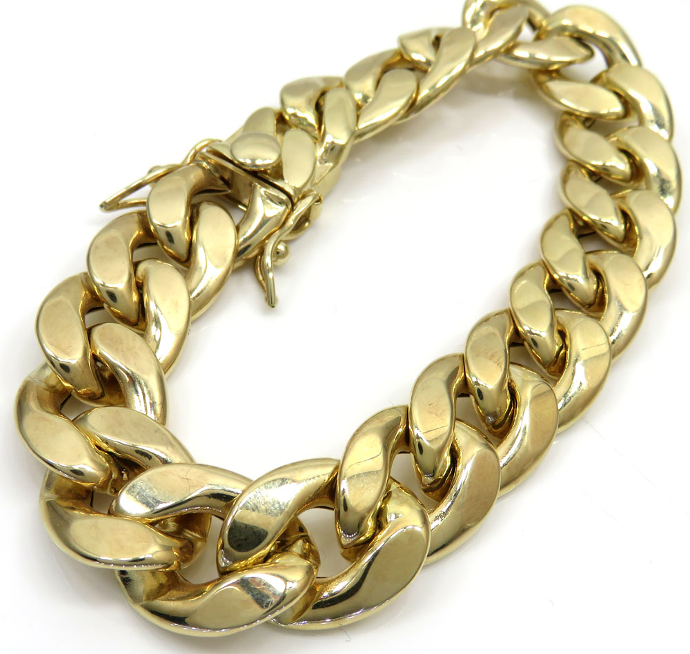 gold yellow thick inch rope hollow bracelet smooth mens bracelets