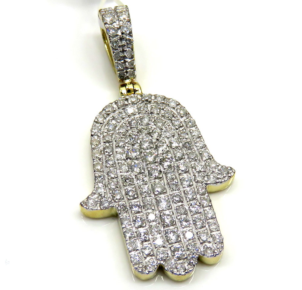 10k yellow gold diamond hamsa pendant 150ct mozeypictures Images