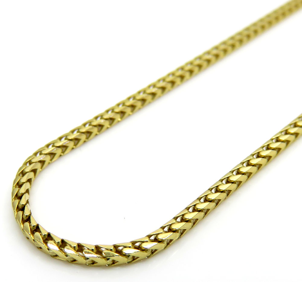14k solid yellow gold solid skinny franco chain 16-28 inch 1.4mm