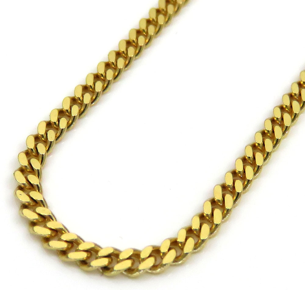 14k yellow gold skinny tight link miami chain 20-24 inch 2mm