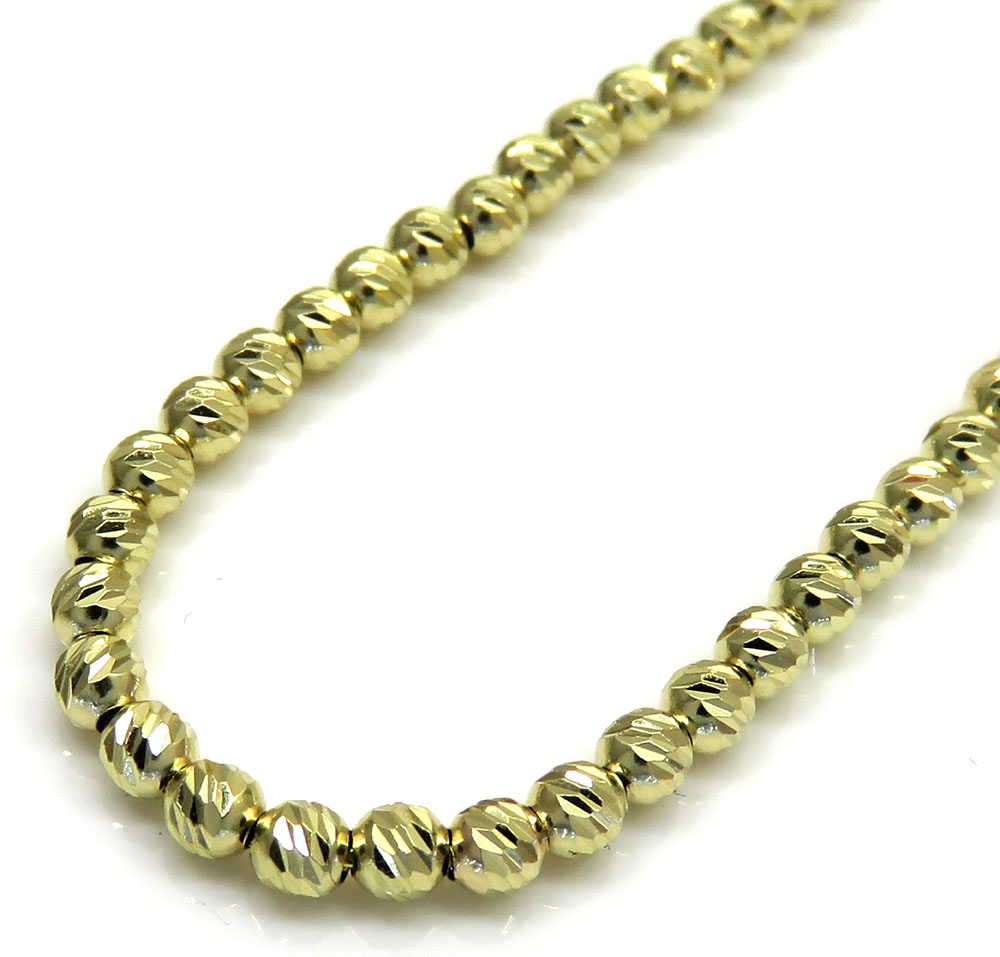 14k yellow gold diamond cut bead chain 16-24 inch 3mm