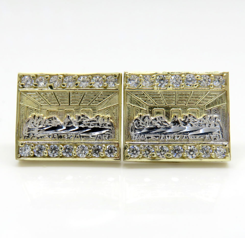 10k yellow gold two tone disciples last supper earrings 0.50ct