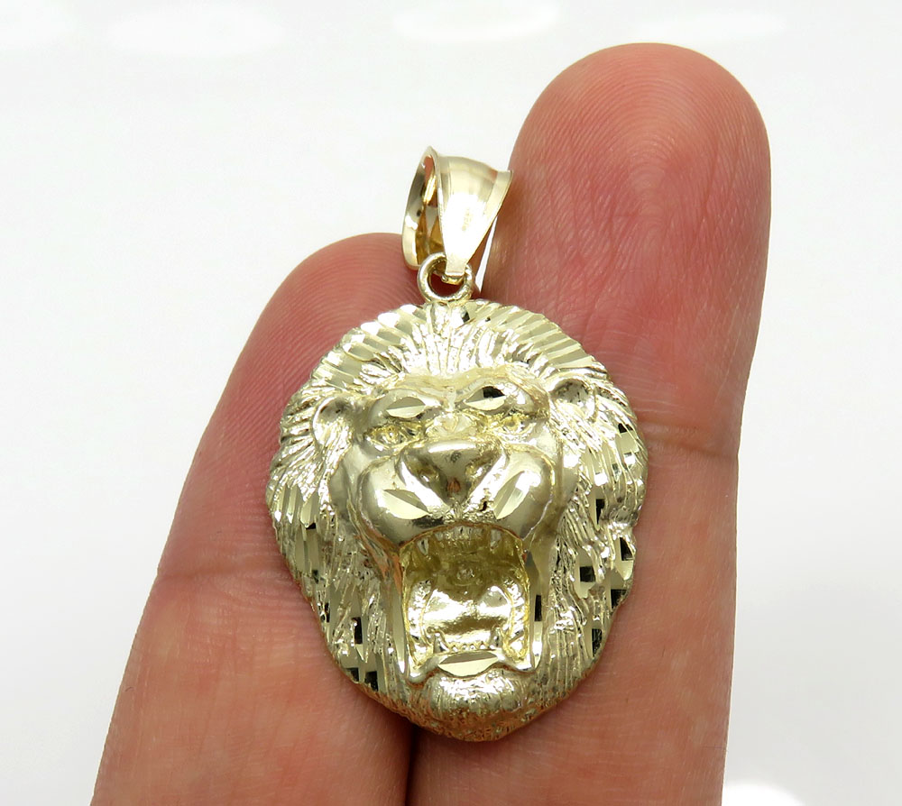 10K Yellow Gold Medium 3D Lion Head Pendant