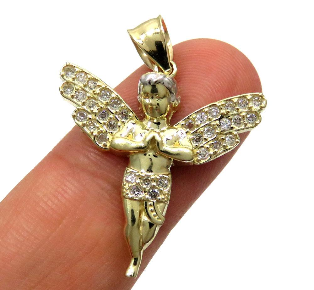 10k yellow gold small cz praying baby cherub angel pendant 1.00ct