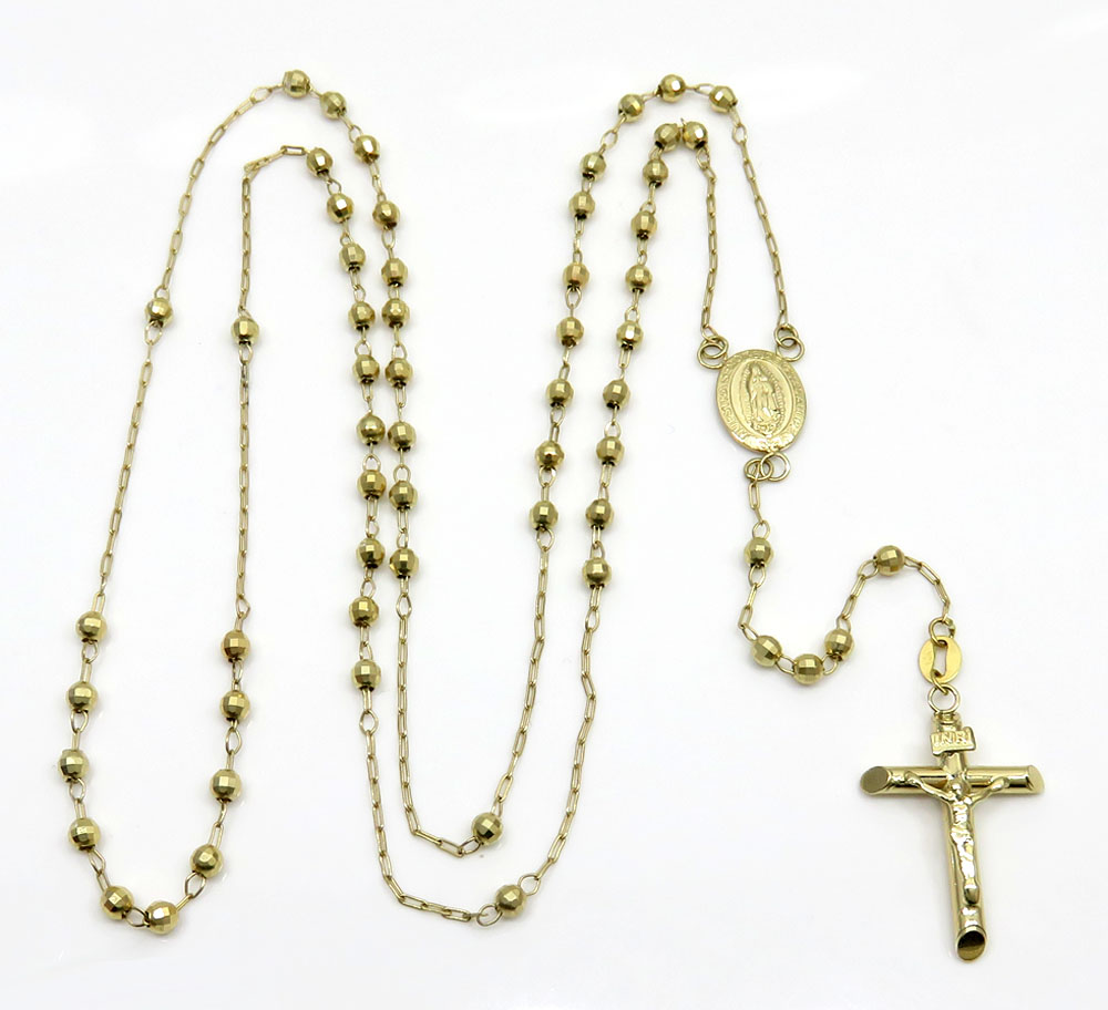 14k yellow gold diamond cut bead rosary chain 26 inch 3mm