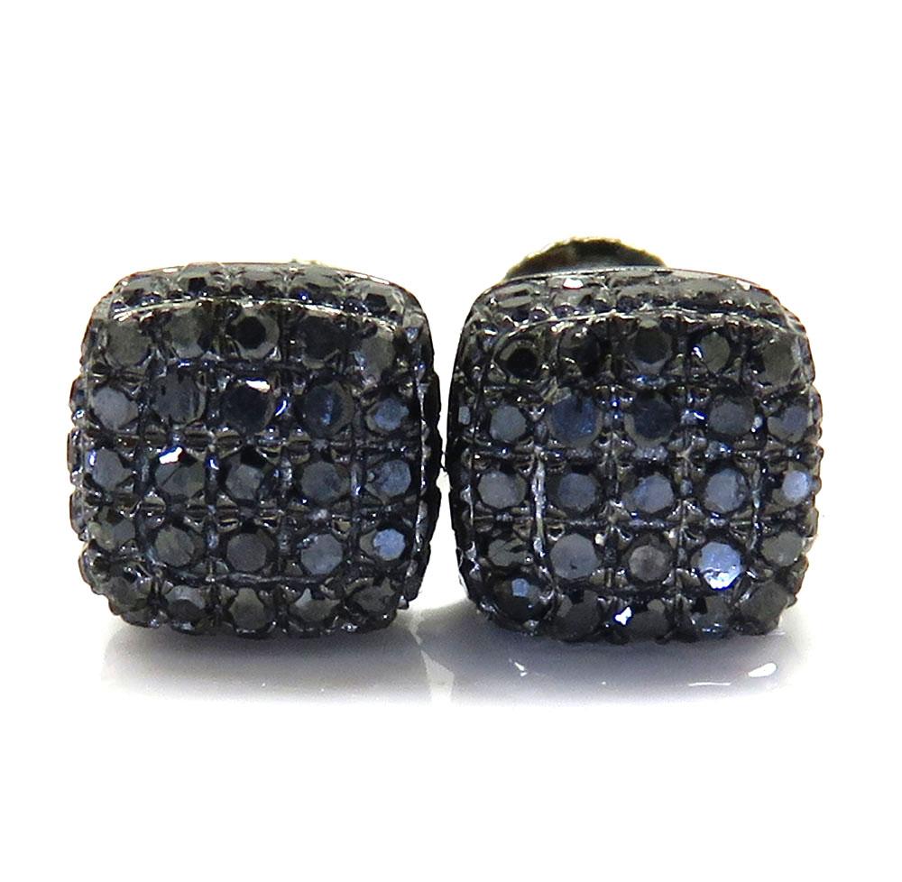 10k black gold black diamond 5 row cube earrings 0.50ct