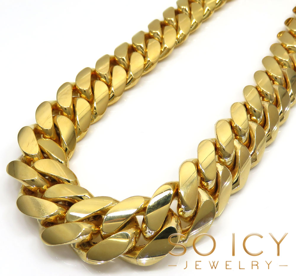 10k Yellow Gold Big Miami Chain 30 Inch 16mm Wide
