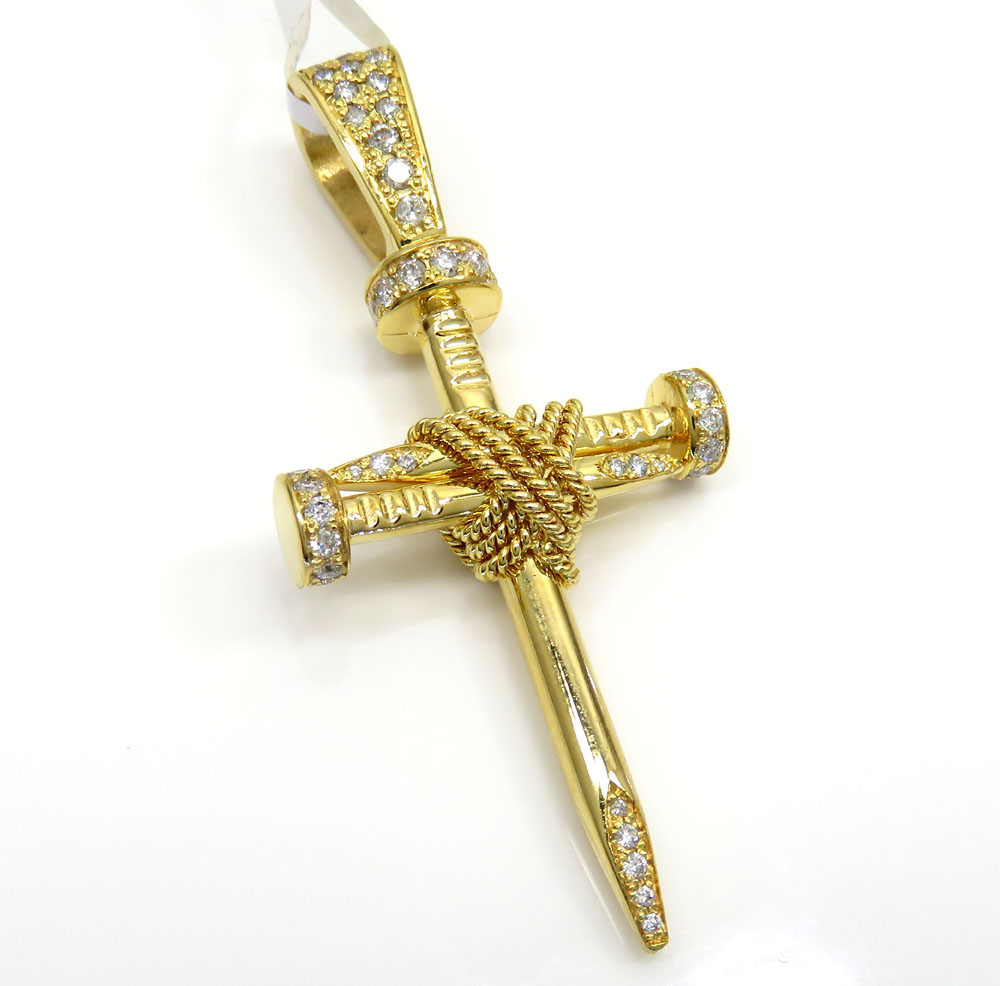 14k yellow gold triple nail diamond cross pendant 1.00ct