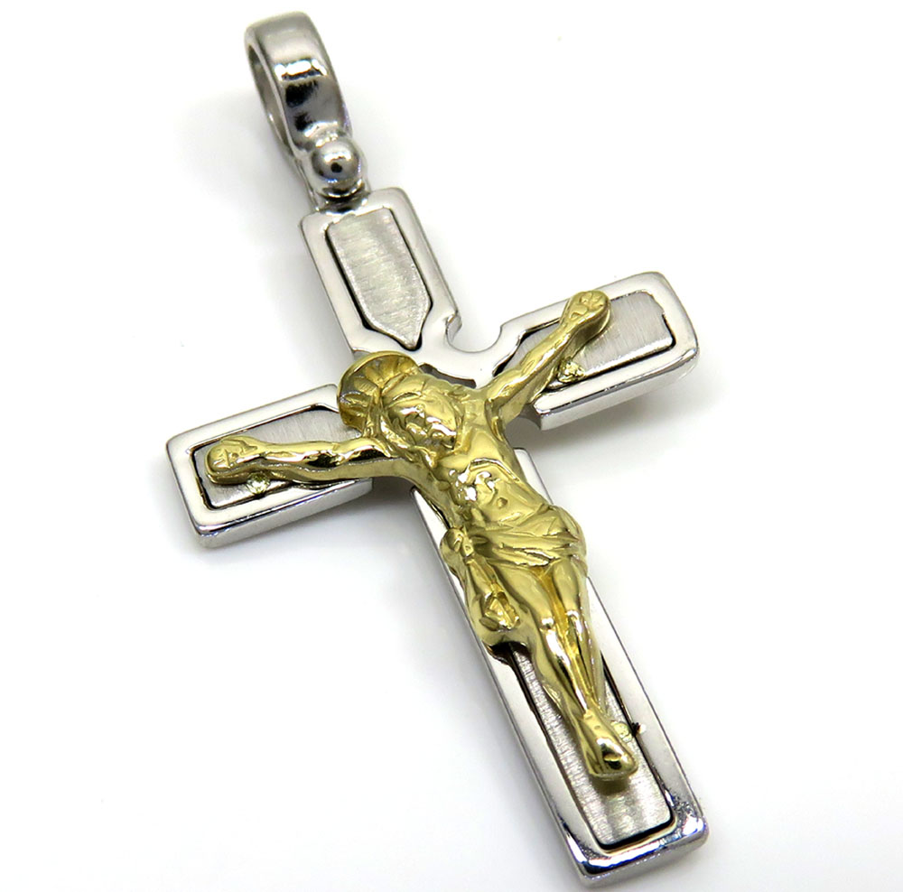 14k white and yellow gold two tone boxed cross