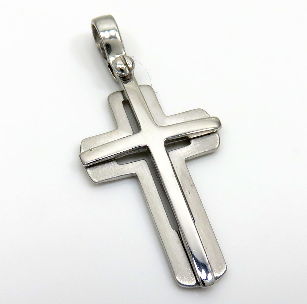 14k white gold stacked italian cross