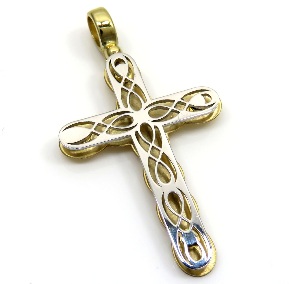14k yellow and white gold two tone pop up stencil cross