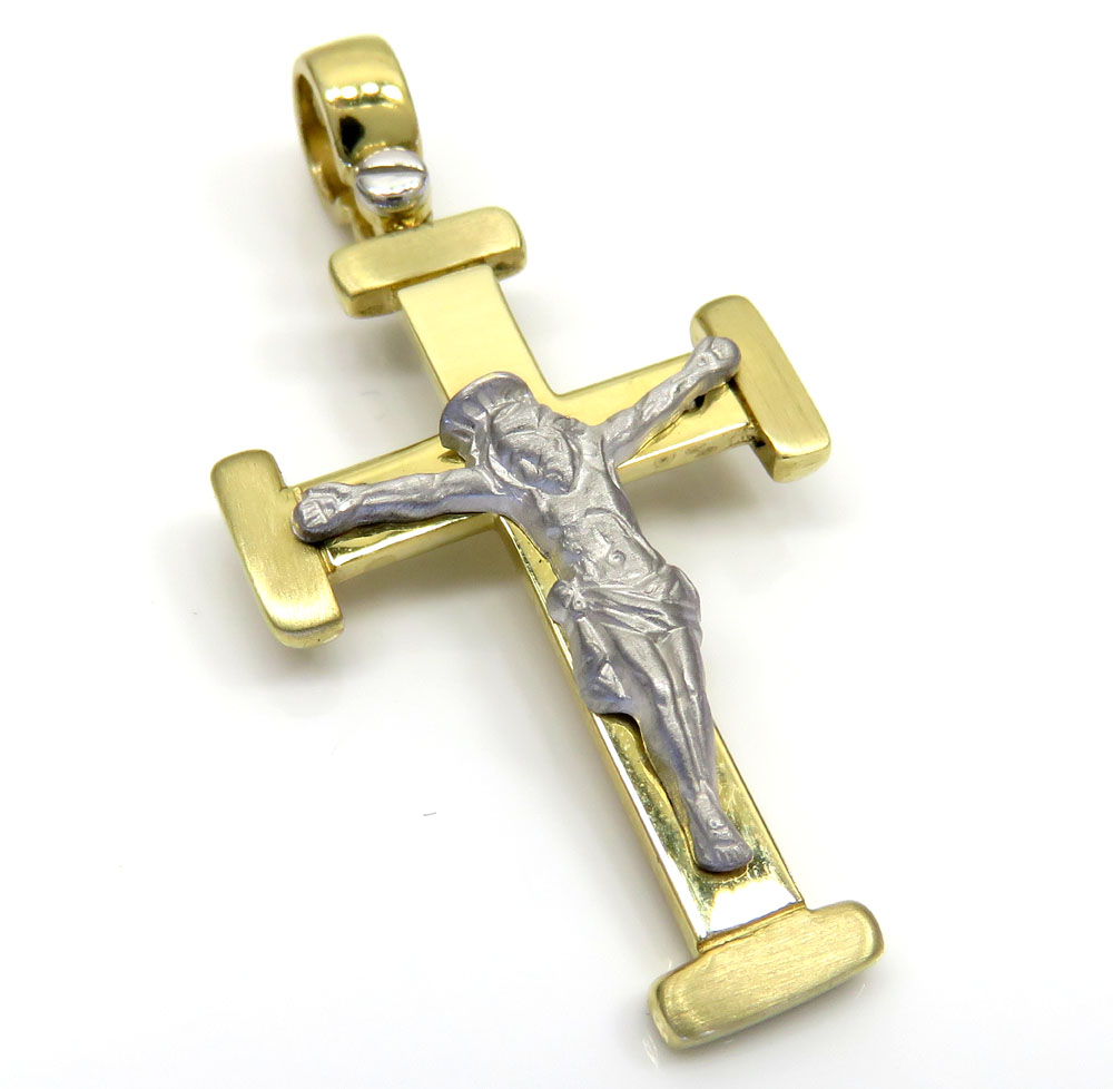14k yellow and white gold two tone jesus cross