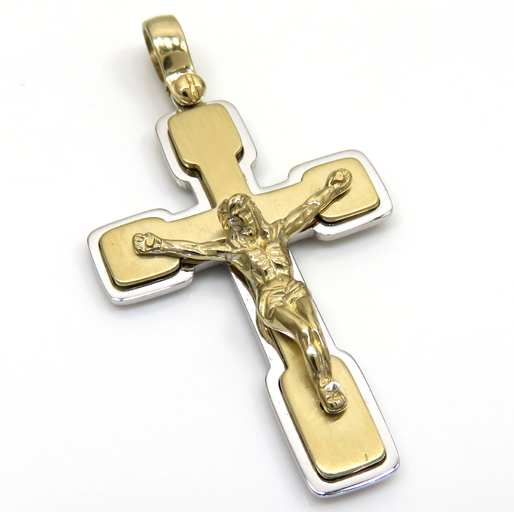 14k Yellow and White Gold Two Tone Jesus Stacked Cross