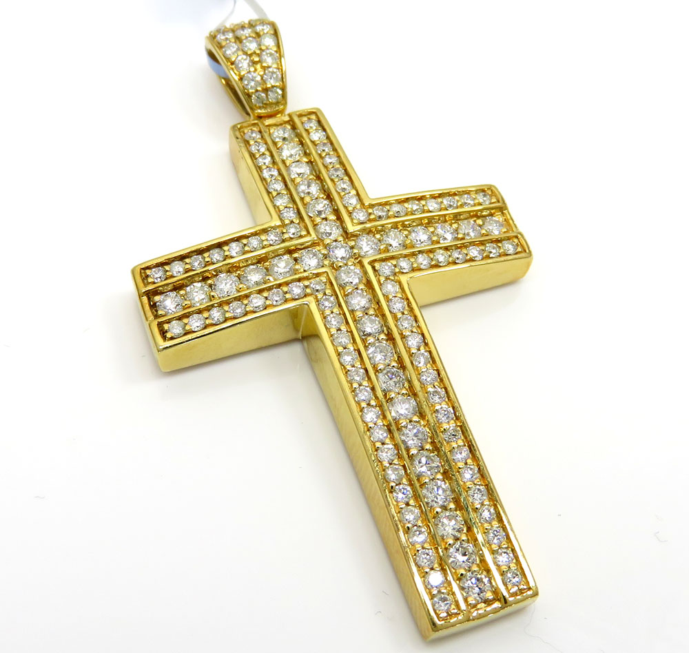 14k yellow or white gold three row cross 2.15ct