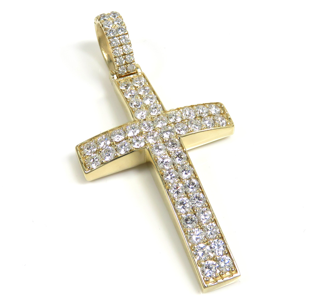 14k yellow gold two row cross 3.09ct