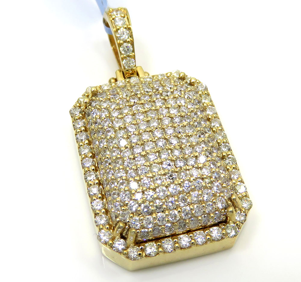 14k yellow gold fully iced diamond octagon pendant 2.70ct